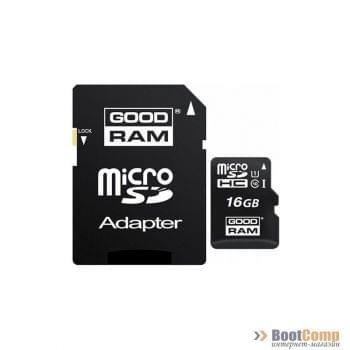 Карта памяти micro Secure Digital Card 16Gb GOODRAM/с адаптером SD [M1AA-0160R11]