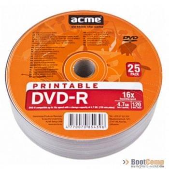 Диск DVD-R ACME 25шт/PRINTABLE