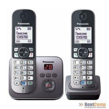 Телефон Panasonic KX-TG6822RUM серый металлик 2 трубки